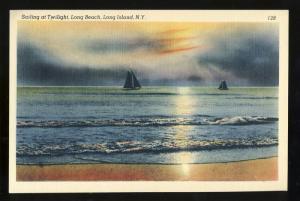 Long Beach, New York/NY Postcard, Sailing At Long Beach