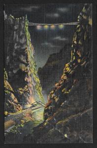 Suspension Bridge Highest Bridge in the World at Night Royal Gorge Unused c1938