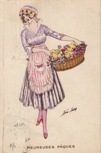 SAGER, Xavier ; Woman holding basket of chicksgs , Heureuses Paques , 00-10s