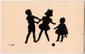 Silhouette of Children Playing, Signed