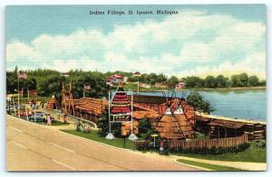 Postcard MI St Ignace Indian Village Souvenirs Indian Goods Vintage Linen R26