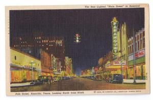 Polk Street Amarillo TX Night Vintage Linen Postcard 1939