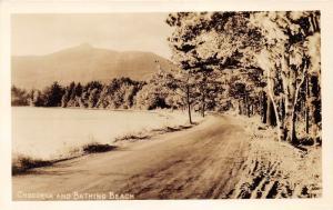 New Hampshire~Mount Chocorua & Bathing Beach~Road Passing Along Trees~1932 RPPC
