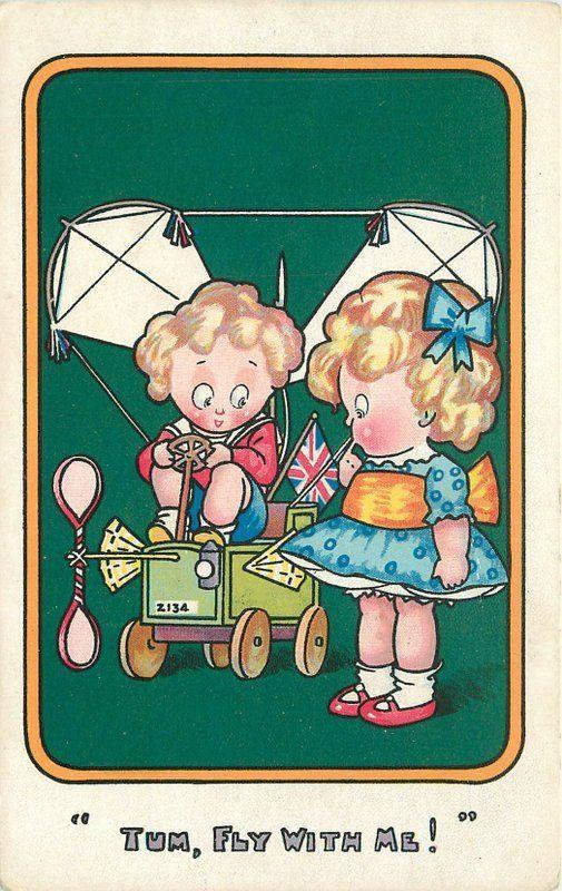 C-1910 Early Aviation Children Romantic Humor Union Jack Philco postcard 4819