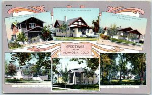 ALAMOSA, Colorado Postcard Multi-View w/ 6 Residences House Views HHT c1920s