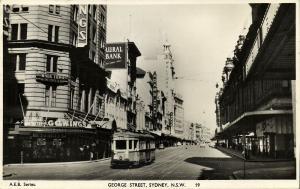 australia, SYDNEY, N.S.W., George Street, Tram Street Car (1959) RPPC Postcard