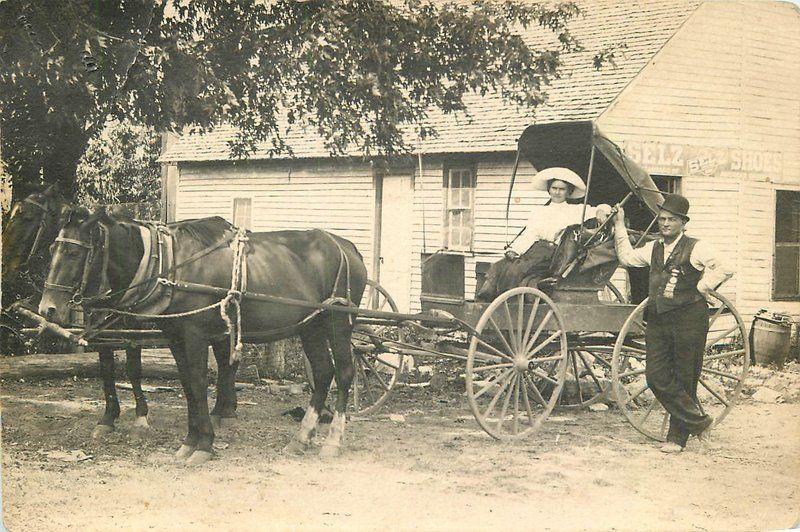 C-1910 Horse Buggy Woman Selz Shoe Advertising RPPC Photo Postcard