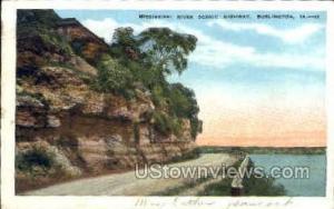 Mississippi River Highway Burlington IA postal used unknown