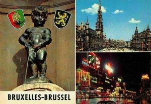 Belgium Bruxelles Brussel Manneken Pis Statue Town hall Illuminated Postcard