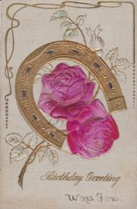 Silk Roses & Horseshoe , Birthday Greeting , 00-10s