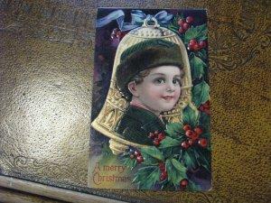 Antique Christmas Postcard Boy Child Gold Bell Series 1480C
