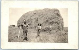 Vintage RPPC Real Photo Postcard FARM SCENE One-Armed Man Farmer Haying c1910s