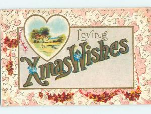 Pre-Linen christmas XMAS WISHES - IN BIG LARGE LETTERS HQ6536