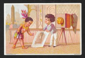 VICTORIAN TRADE CARD Indian Children Doing Photography