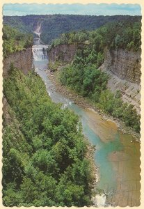 Letchworth State Park NY - Middle and Upper Falls from Inspiration Point pm 1984