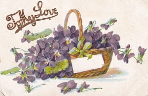 Basket of Violets with blank card, To My Love, PU-1909