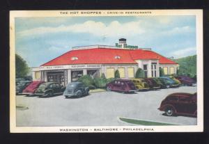 WASHINGTON DC BALTIMORE PHILADELPHIA THE HOT SHOPPES RESTAURANT POSTCARD