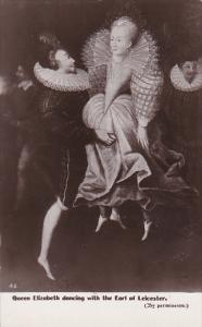 Queen Elizabeth Dancing With The Earl Of Leicester Real Photo