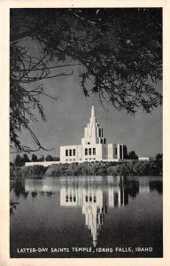 IDAHO FALLS, ID Idaho    LATTER-DAY SAINTS TEMPLE     Black & White Postcard