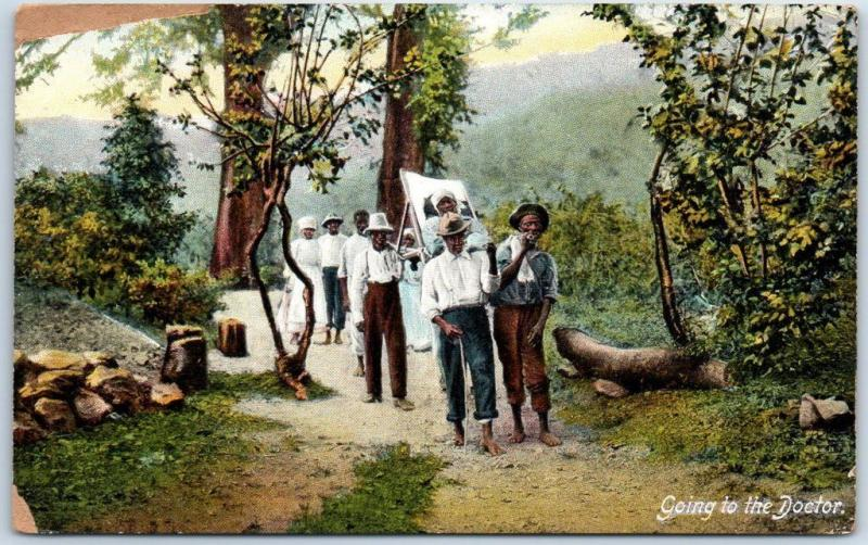 Vintage JAMAICA Postcard Going to the Doctor Sick Black Woman Stretcher c1910s
