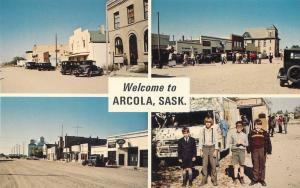 ARCOLA, SASK.  Canada  Multiview STREET SCENES MOVIE TOWN 1976 Postcard