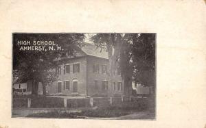 Amherst New Hampshire High School Street View Antique Postcard K34772