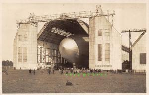1929 Friedrichshafen Germany RPPC: Graf Zeppelin in Hangar; Smoker Nearby!
