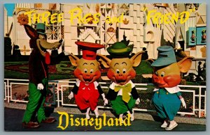 Postcard Anaheim CA c1960s Disneyland Three Little Pigs And Friend DT-35927-C