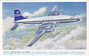 B.O.A.C. Britannia 312 Series Airplane , Artist C.A. GARMAN , 1950s