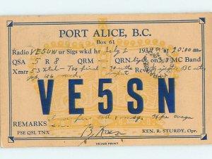 1930s QSL RADIO CARD Port Alice On Vancouver Island British Columbia BC AH3152