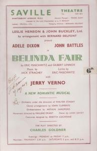 Belinda Fair Adele Dixon Musical WW2 Saville London Theatre Programme