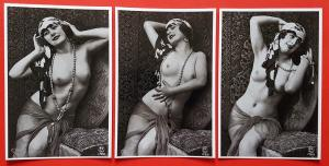 Set of 3 NEW Vintage 1920's French Repro Postcards, Risque, Nude, Erotic 87D
