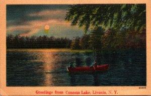 New York Livonia Greetings From Lake Conesus 1947