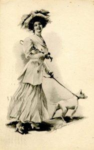 Lady & Dog - Artist: M. Farini  (B&W)
