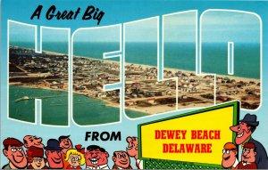 Vintage Postcard, DEWEY BEACH, DELAWARE, DE, A Big Hello,Aerial View Of Beach