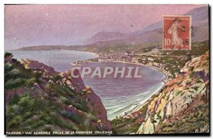 Old Postcard Menton General View from the Italian border