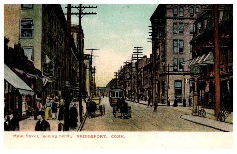 Connecticut Bridgeport Main Street  looking North  with trolley