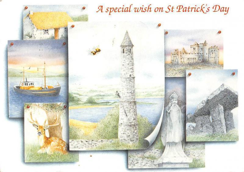 Irish Life and Heritage St. Patrick's Day Greetings Tower Castle Statue Boat
