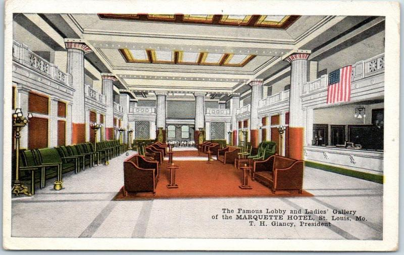 St. Louis, MO Postcard Famous Lobby & Ladies' Gallery, MARQUETTE HOTEL Kropp