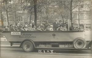 RPPC Elite Roundtrip to Berlin~Open Air Bus~Peter's Union~Bag II Real Photo pc