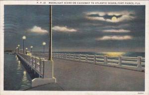 Florida Fort Pierce Moonlight Scene On Causeway To Atlantic Ocean 1936