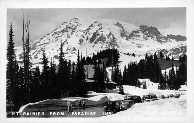 MT RAINIER WASHINGTON FROM PARADISE INN-OLD VEHICLES~1930s REAL PHOTO POSTCARD