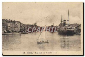 Old Postcard Sete docks saw the mole