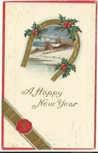 Vintage New Years Postcard, Winter Scene Cabin Blanket of Snow Happy New Year