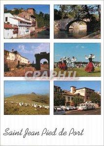 Postcard Moderne Saint Jean Pied de Port Basque Old Houses on the Nive Citade...