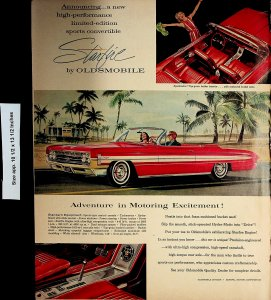 1961 Starfire by Oldsmobile Red Car Vintage Print Ad 4917