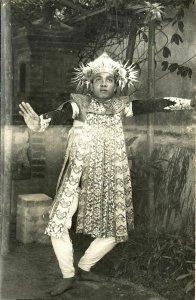 indonesia, BALI, Native Balinese Baris Dancer (1940s) RPPC Postcard