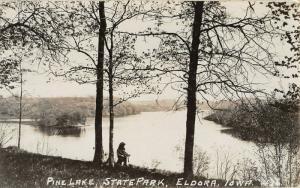 Eldora Iowa~Kid Down by the Shore of Pine Lake in State Park~RPPC c1910 Postcard