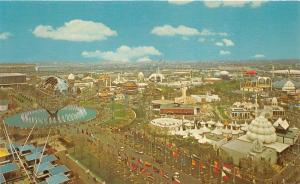 New York World's Fair Unisphere & Court of Nations~Buildings-Flags-Globe~1965 Pc