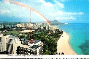 Hawaii Morning Rainbow Dips Over Diamond Head